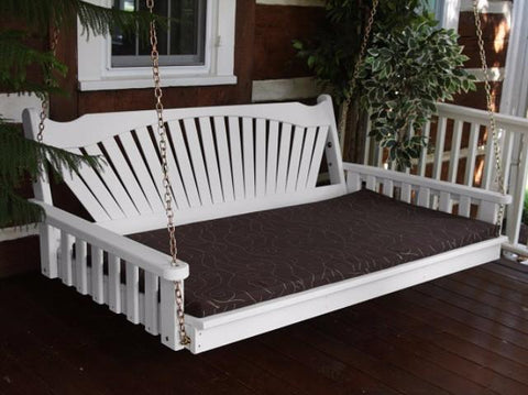Au0026L Furniture Fan Back Pine Swing Bed   Magnolia Porch Swings   10