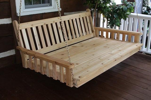 "A&L Furniture Traditional English Red Cedar Swing Bed 75"" Twin 456C - Magnolia Porch Swings  - 1"