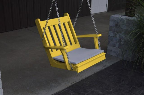 A&L Furniture Traditional English Poly/Recycled Plastic Chair Swing 931 - Magnolia Porch Swings  - 1