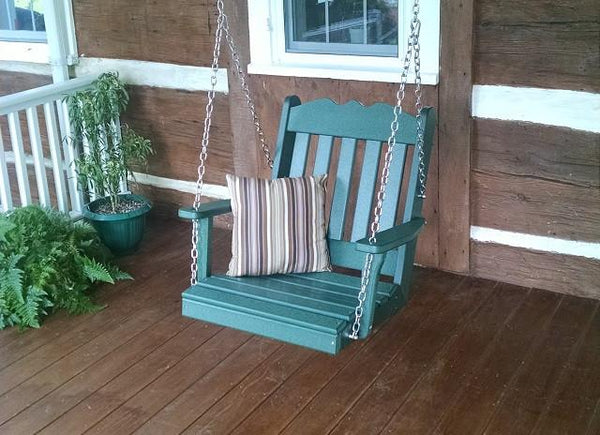 A&L Furniture Royal English Garden Poly/Recycled Plastic Chair Swing 932 - Magnolia Porch Swings  - 1