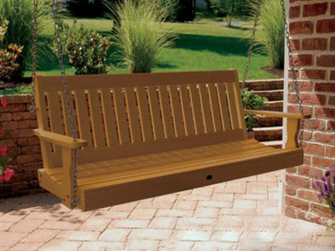 Highwood Lehigh Poly Porch Swing in Toffee
