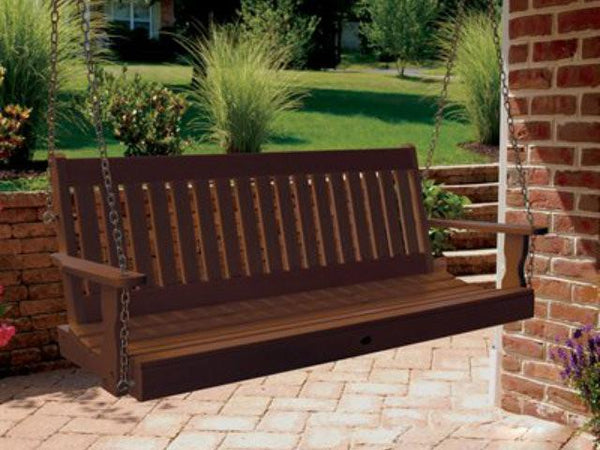 Highwood Lehigh Poly Porch Swing Weathered Acorn