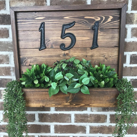 Cedar House Number Planter Plaque Sign - Stained Wooden House Number Sign