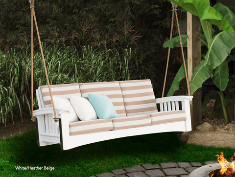 Mission Style Deep Seating Poly Porch Swing With Cushions