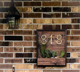 Cedar House Number Planter Plaque Sign