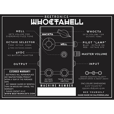 Beetronics Whoctahell low octave fuzz pedal at Dudebroski Guitars