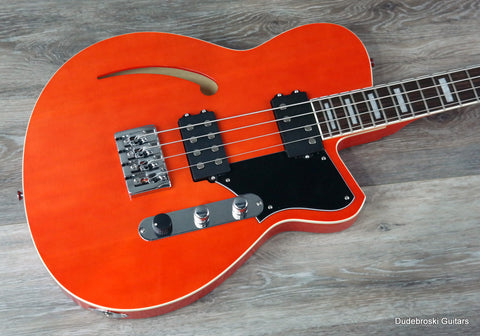 Reverend Dub King Short Scale Bass in Rock Orange, Semi-Hollow & Deep Tone! - Dudebroski Guitars