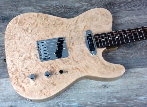 1. Roberts Custom Guitar, T-Style, Quilted Birdseye Maple Top, Carved Brazilian Rosewood Neck - Dudebroski Guitars