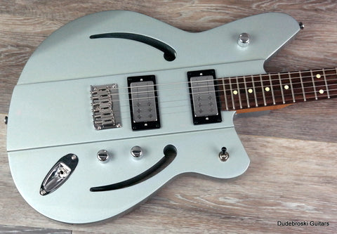 1. Reverend Airsonic RA, Metallic Silver Freeze - Rich, Resonate, Big Tone, Killer Design - Dudebroski Guitars