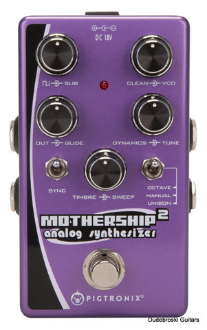 Pigtronix Mothership 2 Analog Synthesizer Pedal, 3-Voice Analog Synth for Guitar or Bass