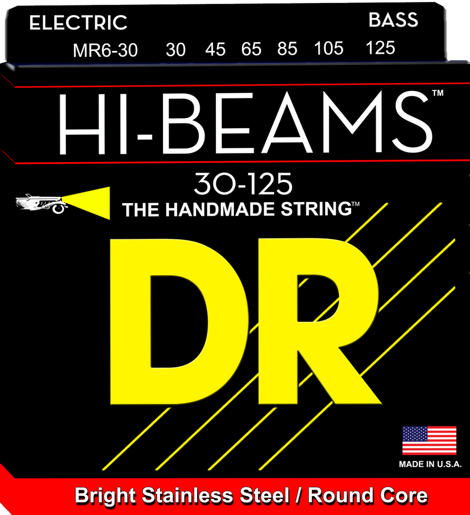DR Hi-Beam Stainless Steel 6-String Bass Strings wound on Round Cores, Medium 30-125