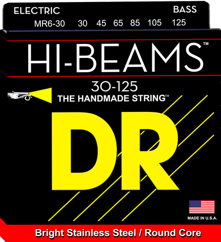 DR Hi-Beam Stainless Steel 6-String Bass Strings wound on Round Cores, Medium 30-125 - Dudebroski Guitars