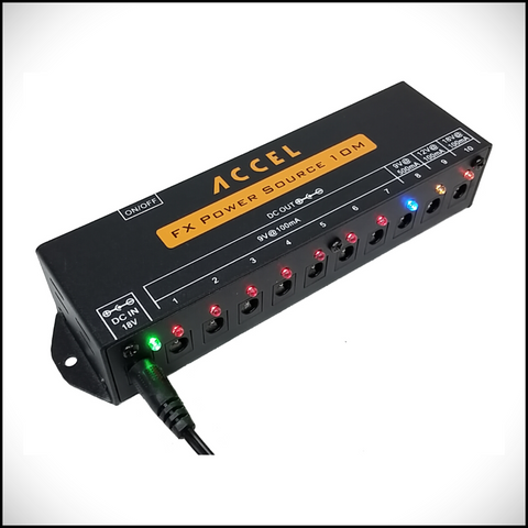 Accel FX Power Source 10m, Regulated and Filtered Power Supply for 10 Pedals - Dudebroski Guitars