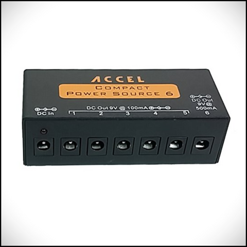 Accel FX Compact Power Source 6, Regulated and Filtered Outputs for Six Pedals - Dudebroski Guitars