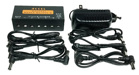 Accel FX Power Source 6 - Compact, Regulated and Filtered Outputs for Six Pedals - Dudebroski Guitars