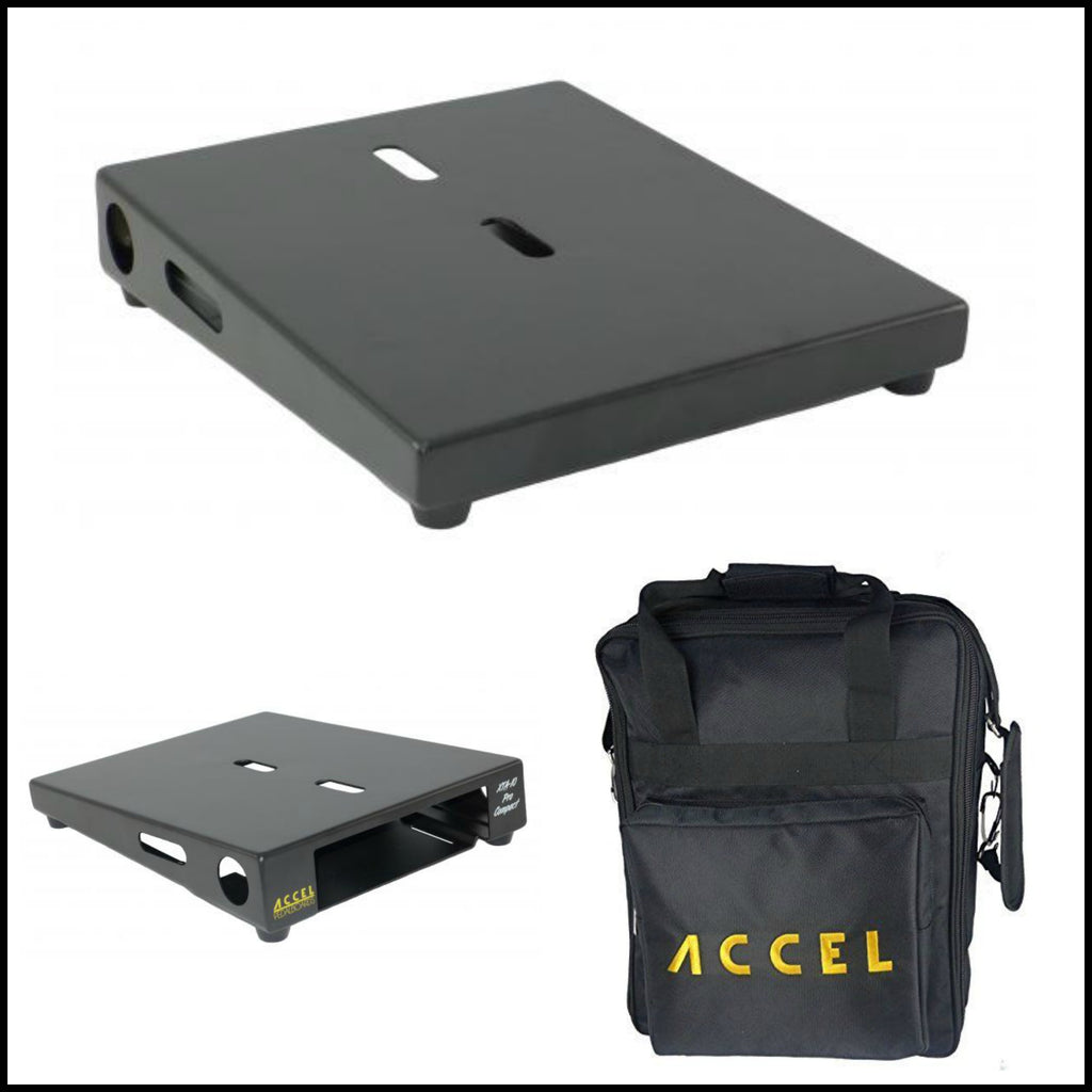 "Accel XTA10 Pro Effects Pedal Board with Bag, Black, Air Craft Grade Aluminum, 10.5"" x 13"""