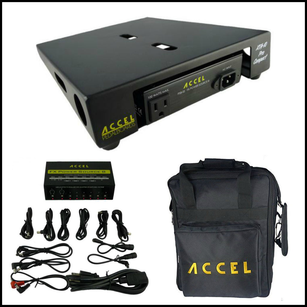 "Accel XTA10 Pro Effects Pedal Board Combo with Power Supply Plus Gig Bag, 10.5"" x 13"""