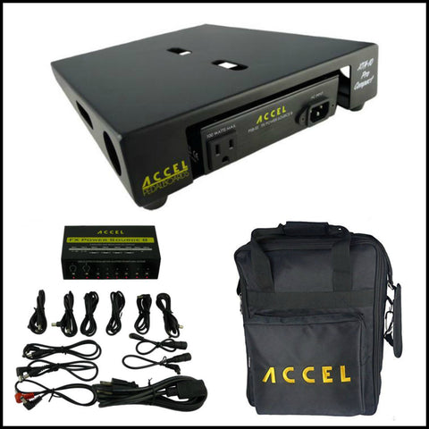 "Accel XTA10 Pro Effects Pedal Board Combo with Power Supply Plus Gig Bag, 10.5"" x 13"" - Dudebroski Guitars"