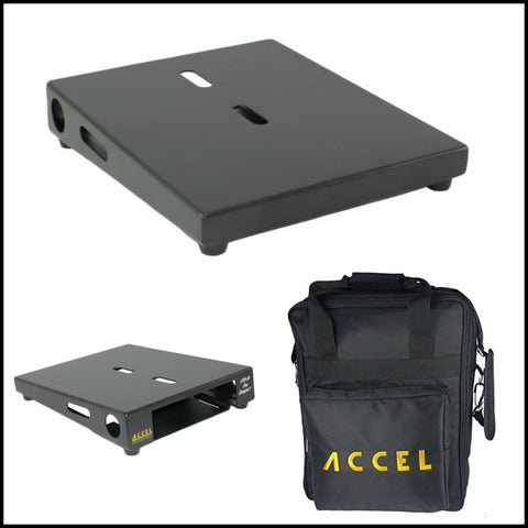 "Accel XTA10 Pro Effects Pedal Board with Bag, Black, Air Craft Grade Aluminum, 10.5"" x 13"" - Dudebroski Guitars"