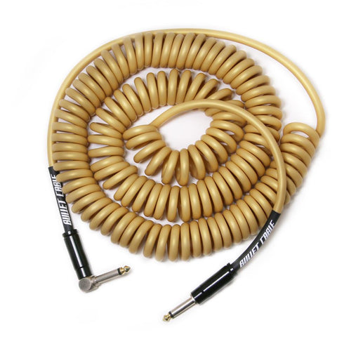 Bullet Gold 30' Coil Cable, Engineered for Noticeable Signal Quality and Clarity of Tone - Dudebroski Guitars