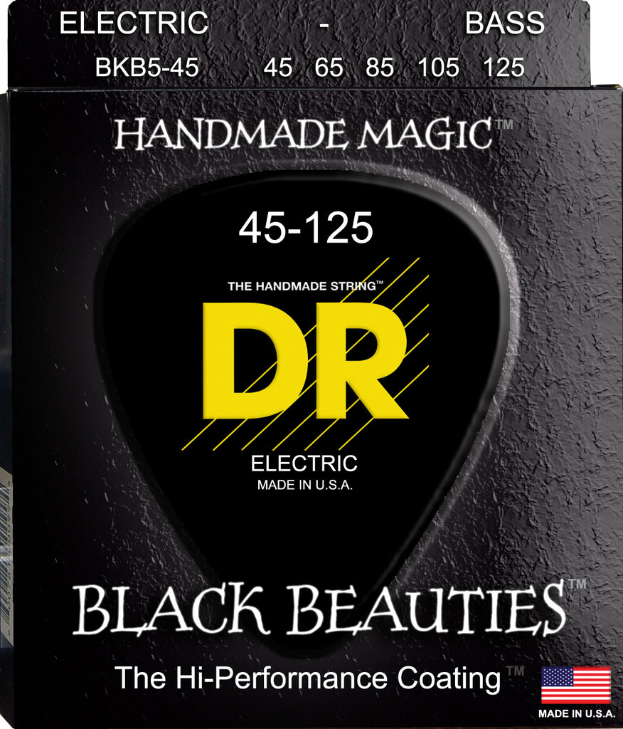 DR Black Beauties™ 5-String Bass Guitar Strings BKB5-45 Medium with K3™ Technology