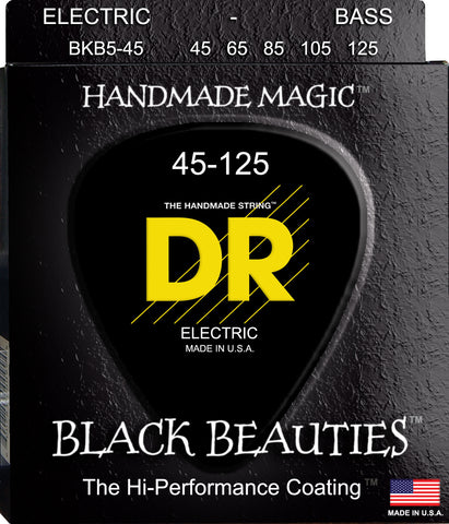 DR Black Beauties Coated 5-String Bass Guitar Strings, Medium 45-125 - Dudebroski Guitars