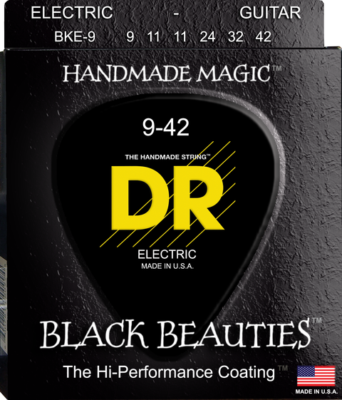 DR Black Beauties Coated Electric Guitar Strings, Lite 9-42