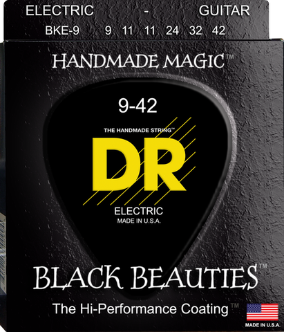 DR Black Beauties Coated Electric Guitar Strings, Lite 9-42 - Dudebroski Guitars
