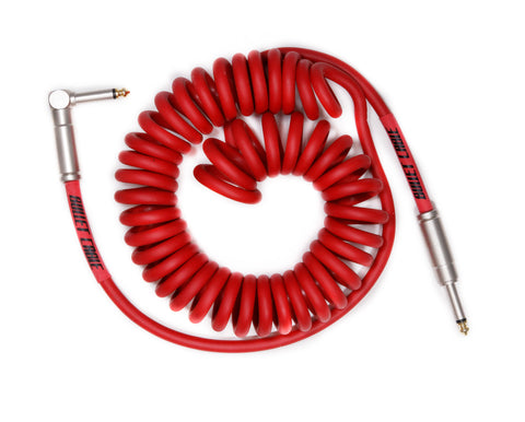 Bullet Red 15' Coil Cable, Engineered for Noticeable Signal Quality and Clarity of Tone - Dudebroski Guitars
