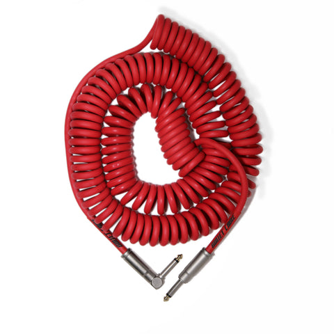 Bullet Red 30' Coil Cable, Engineered for Noticeable Signal Quality and Clarity of Tone - Dudebroski Guitars