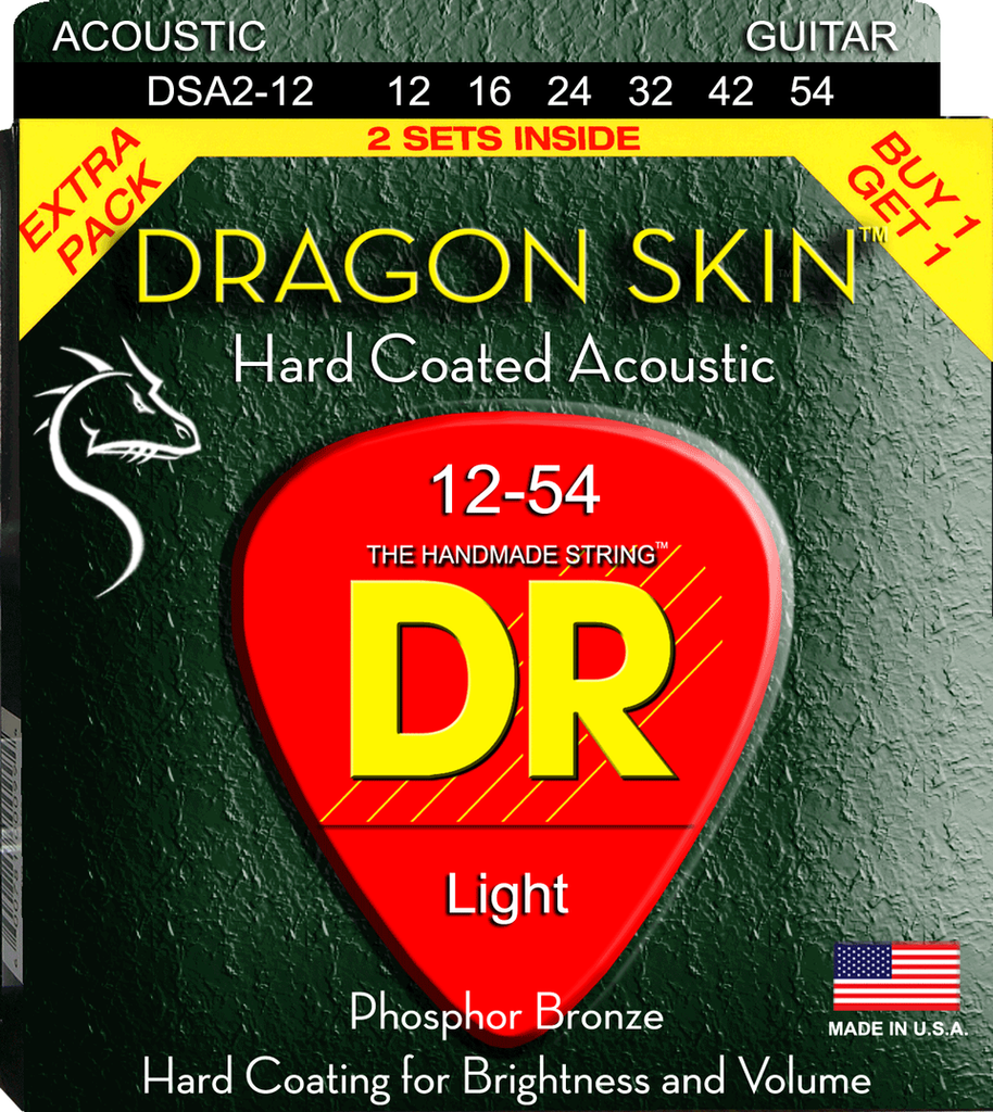 DR Dragon Skin TWO PACK of Clear Coated Acoustic Guitar Strings, Lite 12-54