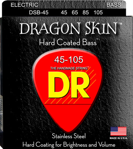 DR Dragon Skin Clear Coated 4-String Bass Guitar Strings, Medium 45-105 - Dudebroski Guitars