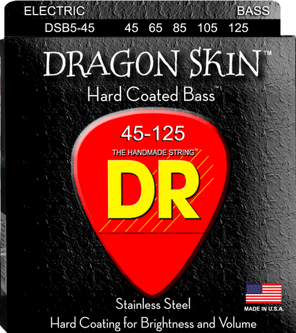 DR Dragon Skin Clear Coated 5-String Bass Guitar Strings, Medium 45-125 - Dudebroski Guitars