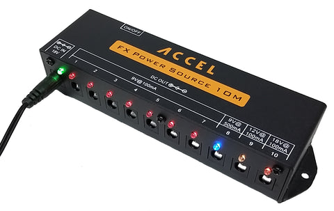 Accel FX Power Source 10m, Filtered Power Supply for 10 Pedals - Dudebroski Guitars