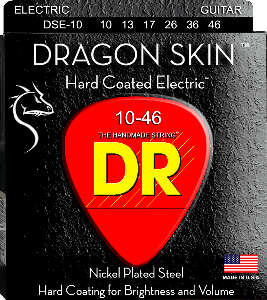 DR Dragon Skin Clear Coated Nickel Electric Guitar Strings, Medium 10-46