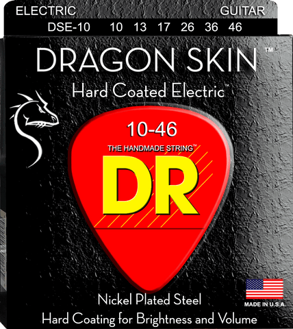 DR Dragon Skin Clear Coated Nickel Electric Guitar Strings, Medium 10-46 - Dudebroski Guitars