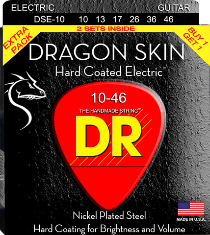 DR Dragon Skin TWO PACK of Clear Coated Nickel Electric Guitar Strings, Medium 10-46 - Dudebroski Guitars