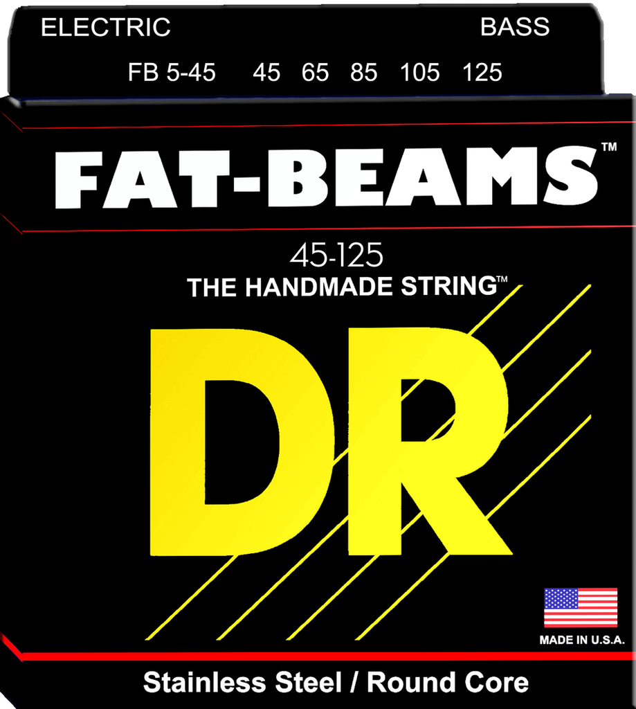 DR Fat Beam Stainless Steel 5-String Bass Strings wound on Round Cores, Medium 45-125