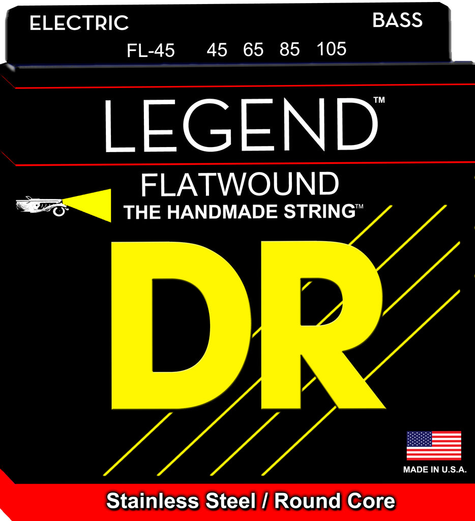 DR Legend Flatwound Bass Strings (45-105), Stainless Steel, Round Core