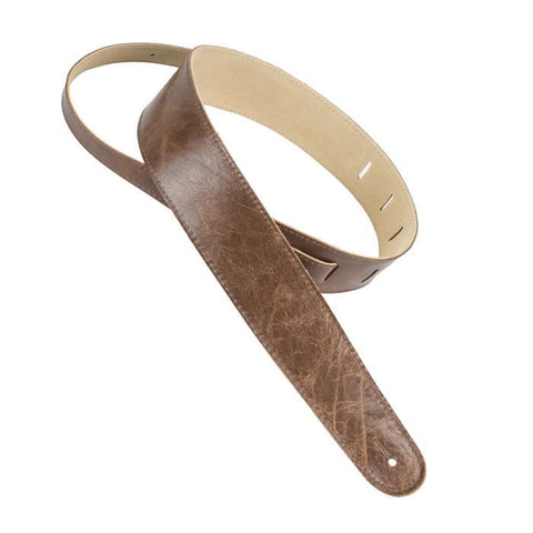 "Henry Heller 2.5"" Capri leather Guitar Strap, Vintage Brown - Dudebroski Guitars"