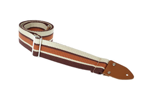 Henry Heller 2 Inch Heavy Cotton Guitar Strap in Mod Brown Striped Design - Dudebroski Guitars