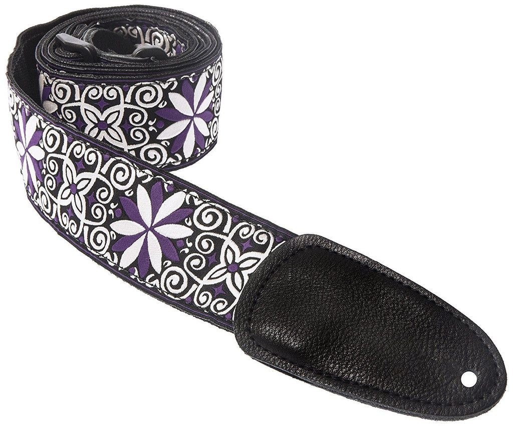 "Henry Heller 2"" Wide Jacquard Weave with Leather Ends Guitar Strap, Purple/Black"