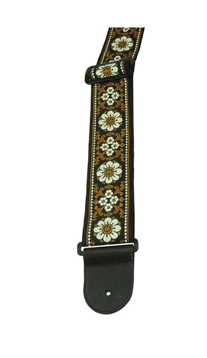 "Henry Heller 2.5"" Hand Sewn Deluxe, Multi Color Jacquard, Leather Ends Guitar Strap, Tan/Black"