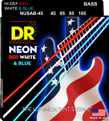 DR USA Flag Red White and Blue Medium Electric 4 String Bass, 45-105 - Dudebroski Guitars