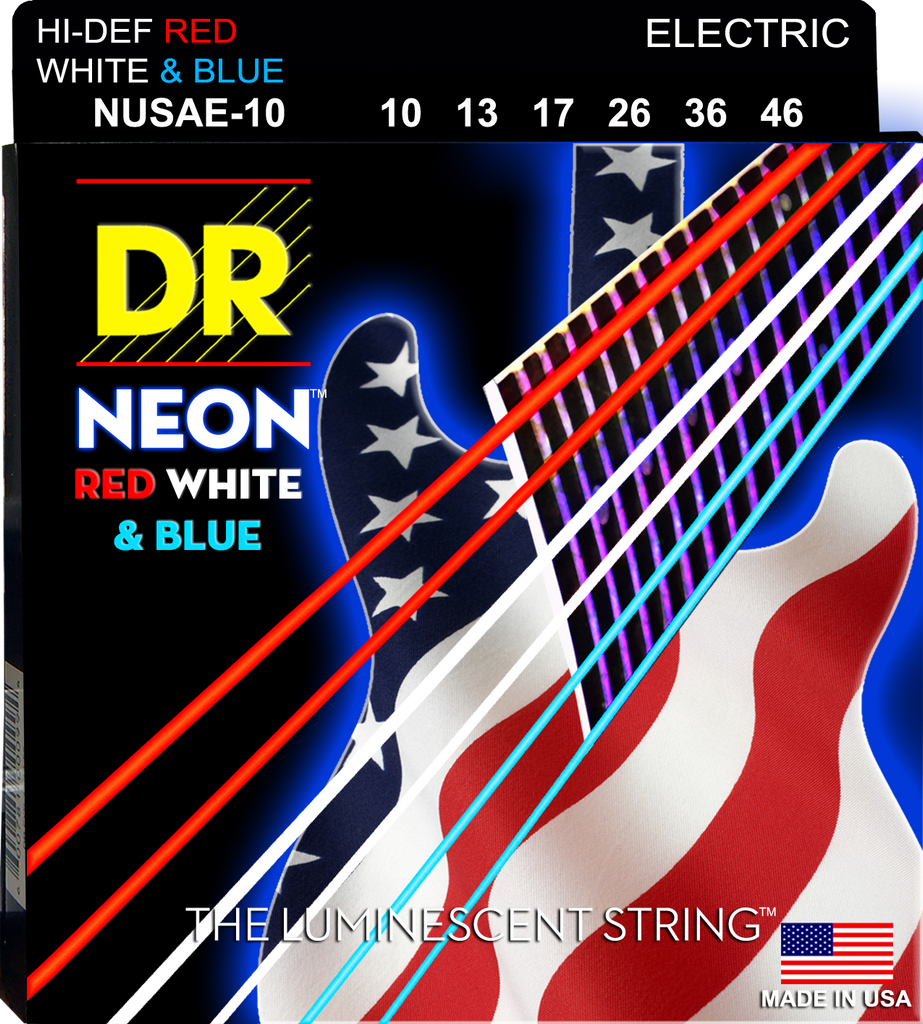 DR USA Flag Red White and Blue Electric Guitar Strings 10-46