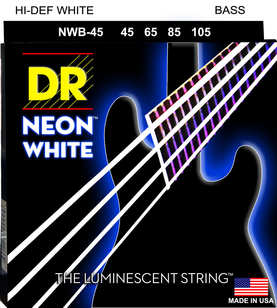 DR NEON White Bass Guitar Strings (45-105) with K3 Technology
