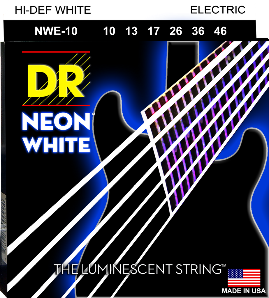 DR NEONs White Coated Electric Guitar Strings, Medium 10-46