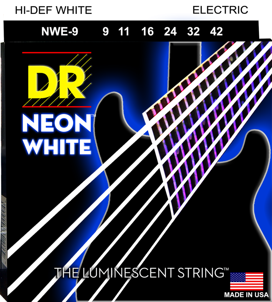 DR NEONs White Coated Electric Guitar Strings, Light 9-42