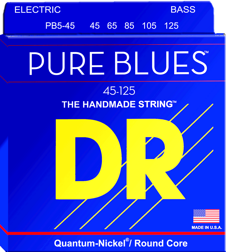 DR Pure Blues Five String Electric Bass Strings, Quantum-Nickel, Medium 45-125