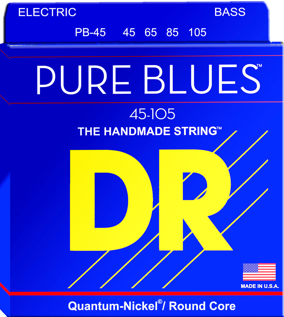 DR Pure Blues Four String Electric Bass Strings, Quantum-Nickel, Medium 45-105